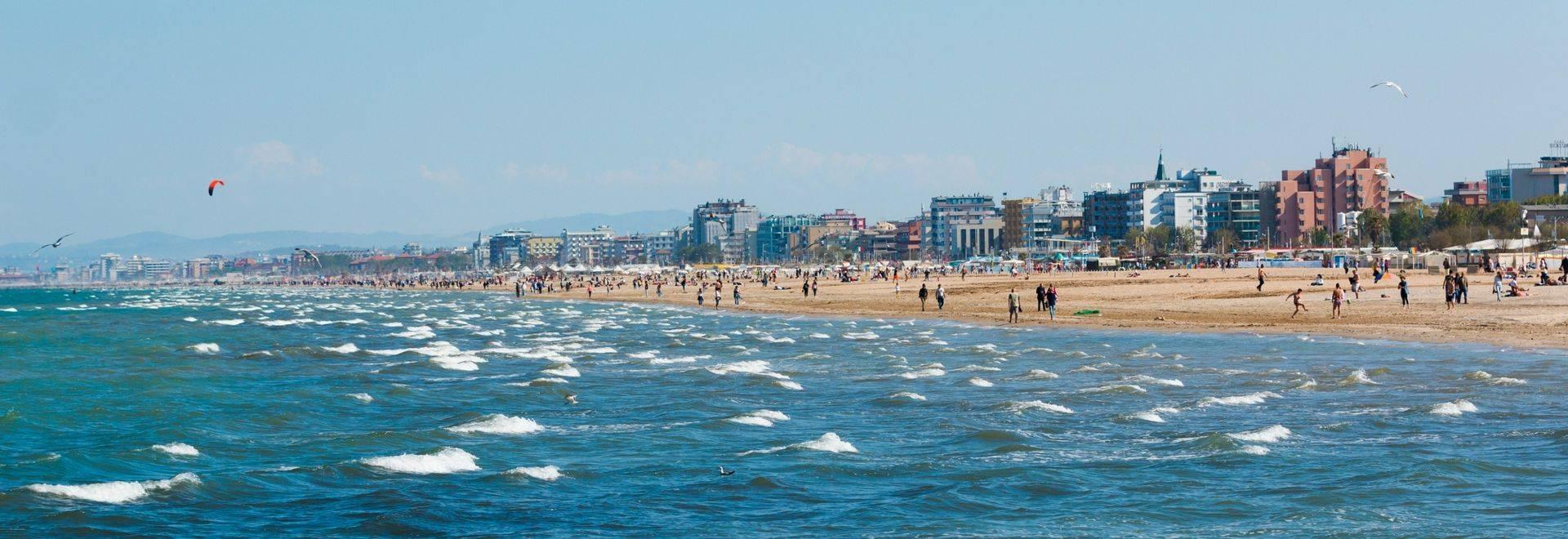 A beach in Adriatic sea in Rimini, Italy