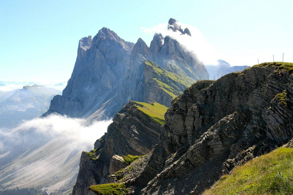 A view of the Odle mountains, Dolomites, in Italy