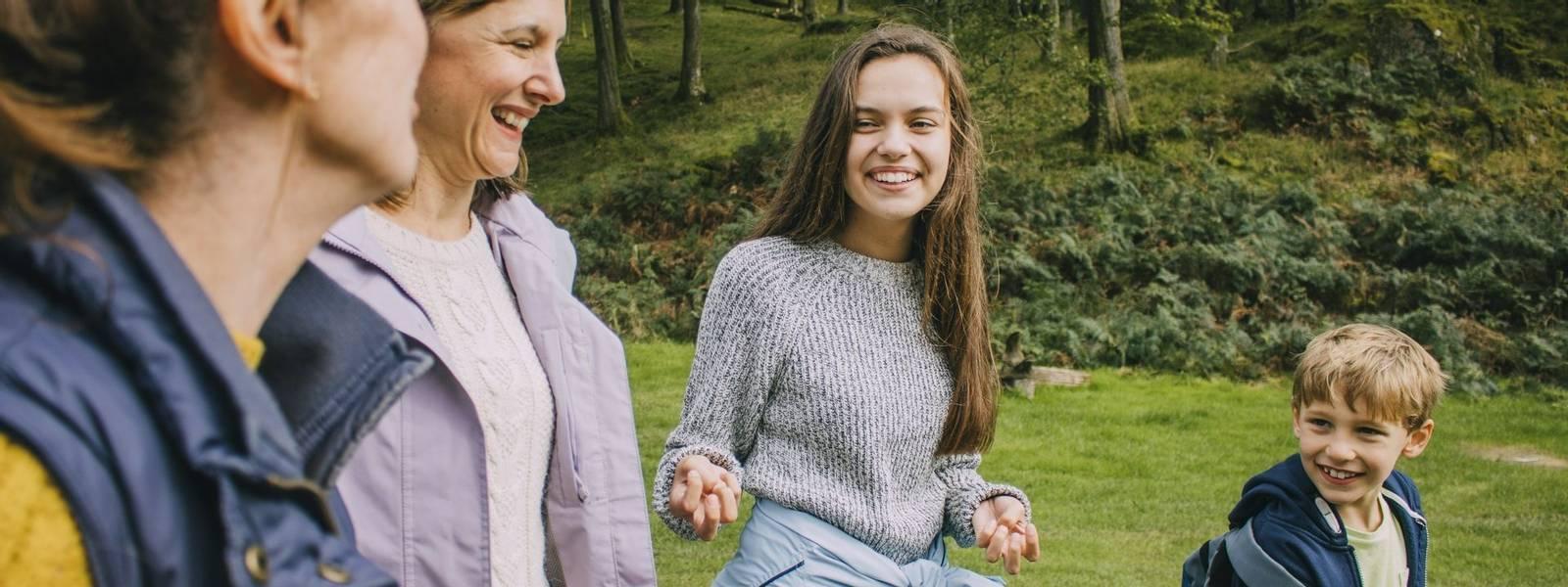 Three Generation Family Hiking