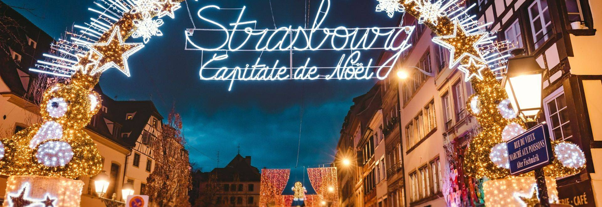 Entrance gate to the start of main shopping street and city centre of Strasbourg on Christmas time in Strasbourg - Alsace, F…