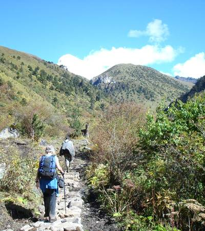 Walking on trail up to Chomolhari Base Camp
