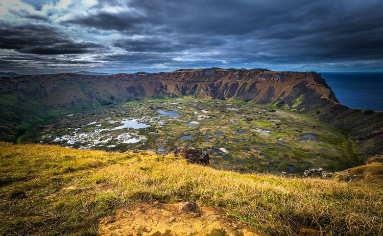 Orongo, Easter Island - July 11, 2017: Ranu Kao volcano crater, Easter Island