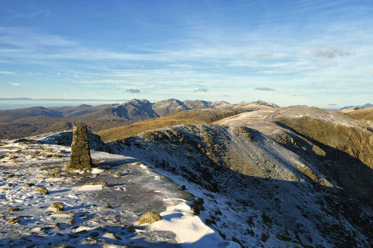 Summit of Coniston Old Man in Winter