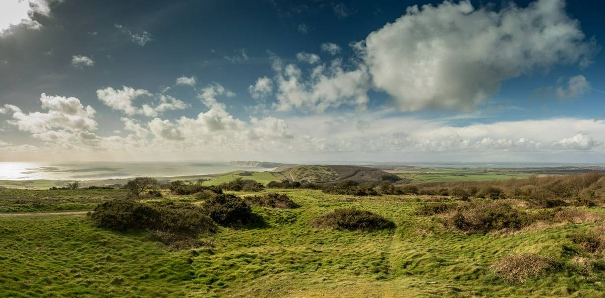 Panorama of Mottistone Down Isle of Wight