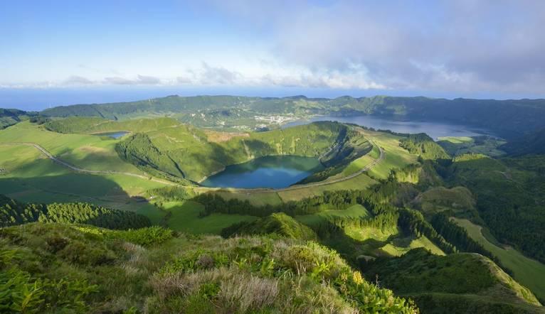 Portugal,Azoren,Insel Sao Miguel,Caldera Sete Cidades mit Kraterseen