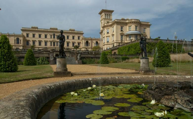 Summer day view of Osborne House and gardens, Cowes, Isle of Wight, UK