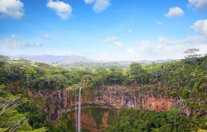 Scenic Chamarel waterfalls in Mauritius Island