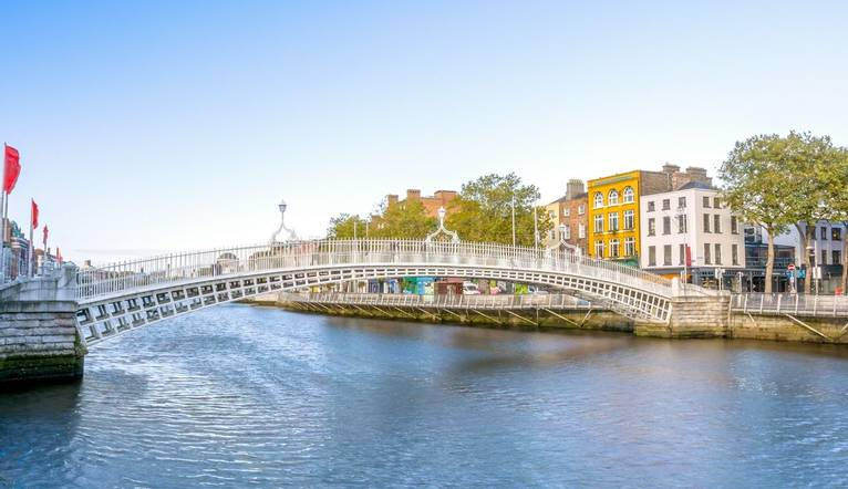 Shutterstock 236608246 View Of Hapenny Bridge Over Liffey River In Dublin