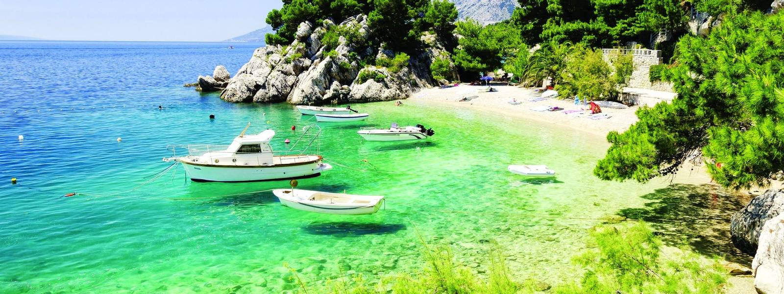 beach in Brela to Makarska Riviera, Dalmatia, Croatia