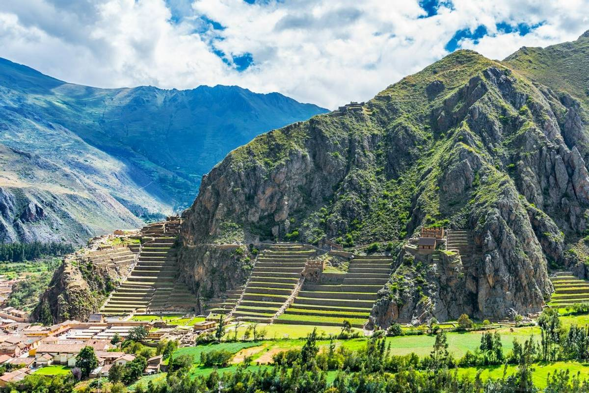 Inca Fortress with Terraces and Temple Hill in Ollantaytambo, Peru. Ollantaytambo was the royal estate of Emperor Pachacuti …