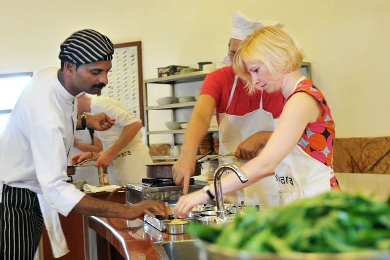Sourcing produce, food and rebecca with the chefs at SwaSwara