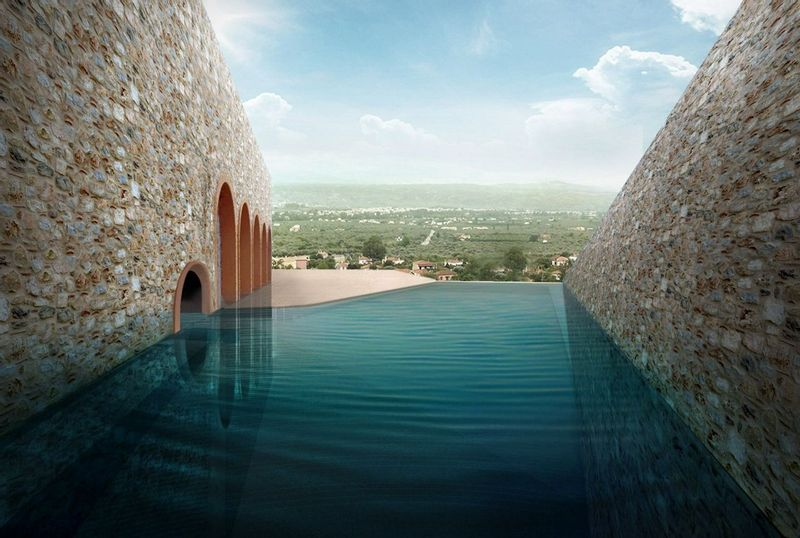 Euphoria Retreat's beautiful private pool with mountains in the background