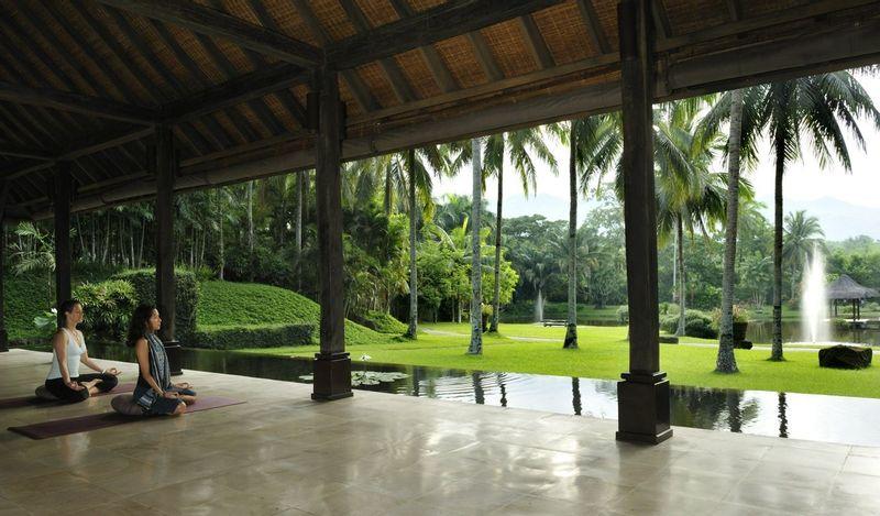 Yoga avec vue sur les jardins tropicaux de la Ferme