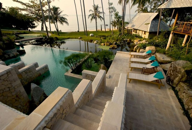 Picture of the pool and stone steps at Kamalaya